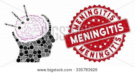 Mosaic Brain Autopsy And Corroded Stamp Seal With Meningitis Phrase. Mosaic Vector Is Created With B