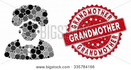 Mosaic Brunette Woman And Rubber Stamp Seal With Grandmother Phrase. Mosaic Vector Is Composed With