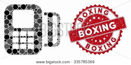 Mosaic Card Terminal And Grunge Stamp Seal With Boxing Caption. Mosaic Vector Is Designed With Card