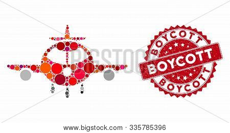 Mosaic Cargo Plane And Grunge Stamp Seal With Boycott Caption. Mosaic Vector Is Formed With Cargo Pl