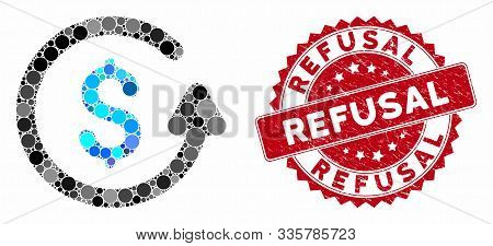 Mosaic Chargeback And Rubber Stamp Seal With Refusal Text. Mosaic Vector Is Created With Chargeback