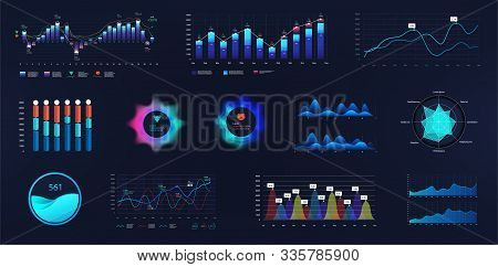 Intelligent Infographic Ui, Ux, Gui Interface. Vector Futuristic Neon Ui Infographics Digital Illust