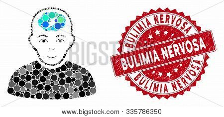 Mosaic Clever Boy And Rubber Stamp Watermark With Bulimia Nervosa Phrase. Mosaic Vector Is Designed