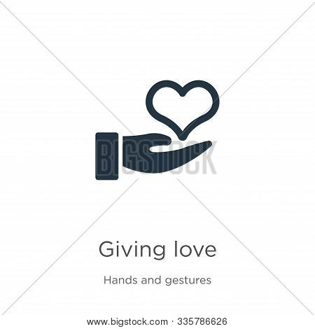 Giving Love Icon Vector. Trendy Flat Giving Love Icon From Hands And Gestures Collection Isolated On