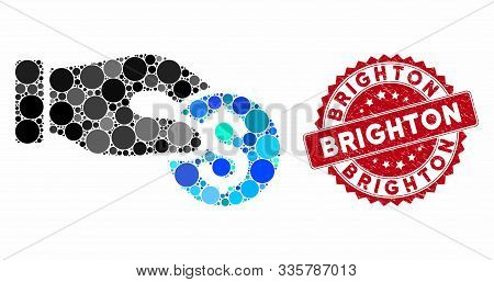 Mosaic Coin Donation And Distressed Stamp Seal With Brighton Text. Mosaic Vector Is Formed With Coin