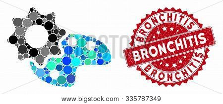 Mosaic Configure Palette And Corroded Stamp Watermark With Bronchitis Phrase. Mosaic Vector Is Compo