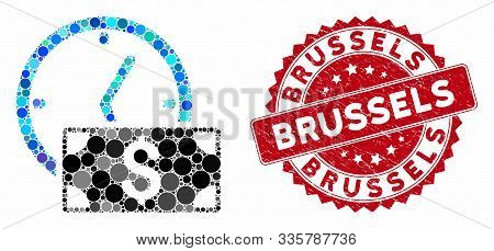 Mosaic Credit And Rubber Stamp Watermark With Brussels Caption. Mosaic Vector Is Created With Credit