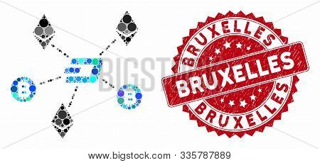 Mosaic Cryptocurrency Relations And Rubber Stamp Seal With Bruxelles Text. Mosaic Vector Is Composed