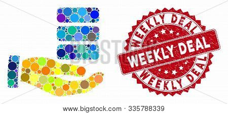Mosaic Data Provider Hand And Grunge Stamp Seal With Weekly Deal Text. Mosaic Vector Is Created From