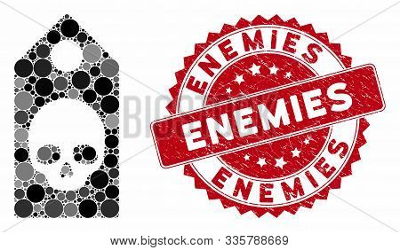 Collage Death Coupon And Rubber Stamp Seal With Enemies Phrase. Mosaic Vector Is Created With Death