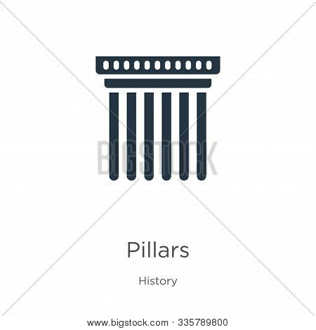 Pillars Icon Vector. Trendy Flat Pillars Icon From History Collection Isolated On White Background.