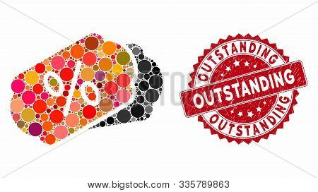 Mosaic Discount Coupons And Rubber Stamp Watermark With Outstanding Caption. Mosaic Vector Is Create