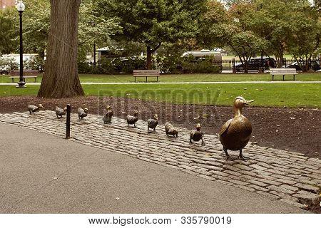 Boston, Massachusetts - October 3rd, 2019:  Make Way For Ducklings Statues At Boston Public Garden I
