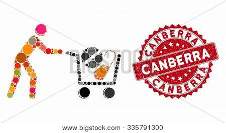 Mosaic Drugs Shopping Cart And Grunge Stamp Watermark With Canberra Phrase. Mosaic Vector Is Compose