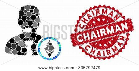 Mosaic Ethereum Operator Manager And Grunge Stamp Watermark With Chairman Text. Mosaic Vector Is Des