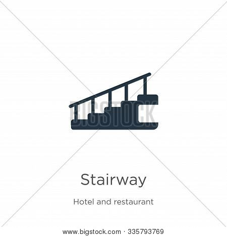 Stairway Icon Vector. Trendy Flat Stairway Icon From Hotel Collection Isolated On White Background.