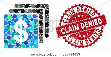 Mosaic Finances And Grunge Stamp Watermark With Claim Denied Phrase. Mosaic Vector Is Created With F
