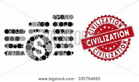 Mosaic Finances And Distressed Stamp Seal With Civilization Text. Mosaic Vector Is Formed With Finan