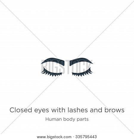 Closed Eyes With Lashes And Brows Icon Vector. Trendy Flat Closed Eyes With Lashes And Brows Icon Fr