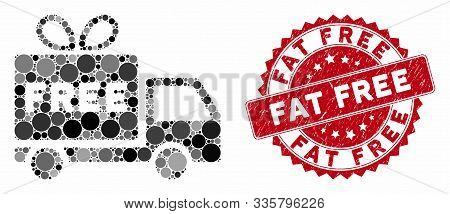 Mosaic Free Shipment And Corroded Stamp Seal With Fat Free Text. Mosaic Vector Is Created With Free