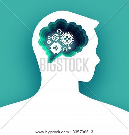 Thinking Man In Paper Cut Style. Origami Brainstorming. Brain, Gears And Cogs Working Together. Orig