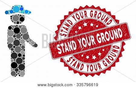Mosaic Gentleman Idler And Grunge Stamp Watermark With Stand Your Ground Caption. Mosaic Vector Is C