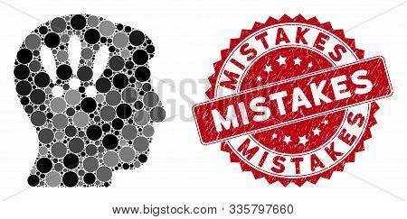 Mosaic Head Problems And Distressed Stamp Seal With Mistakes Caption. Mosaic Vector Is Formed With H