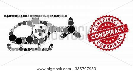 Mosaic Helicopter And Rubber Stamp Watermark With Conspiracy Phrase. Mosaic Vector Is Formed With He