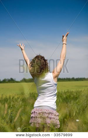Woman Enjoying In The Nature And Fresh Air.
