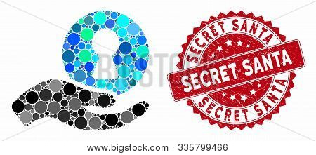 Mosaic Insider Hand And Corroded Stamp Seal With Secret Santa Phrase. Mosaic Vector Is Formed With I