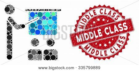 Mosaic Lecture And Grunge Stamp Seal With Middle Class Phrase. Mosaic Vector Is Designed With Lectur