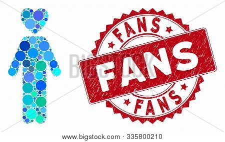 Mosaic Lover Man And Rubber Stamp Seal With Fans Caption. Mosaic Vector Is Created With Lover Man Ic