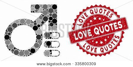 Mosaic Male Erection Pills And Rubber Stamp Seal With Love Quotes Caption. Mosaic Vector Is Composed