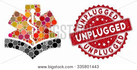 Mosaic Medical Knowledge And Rubber Stamp Seal With Unplugged Text. Mosaic Vector Is Formed With Med