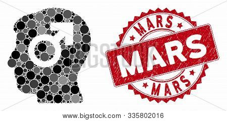 Mosaic Mind Potency And Rubber Stamp Seal With Mars Text. Mosaic Vector Is Designed With Mind Potenc