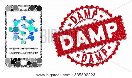 Mosaic Mobile Bank Options And Rubber Stamp Seal With Damp Phrase. Mosaic Vector Is Designed With Mo