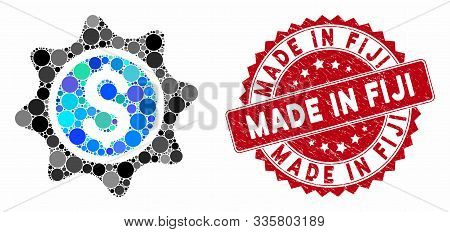 Mosaic Money Sticker And Grunge Stamp Watermark With Made In Fiji Phrase. Mosaic Vector Is Formed Wi