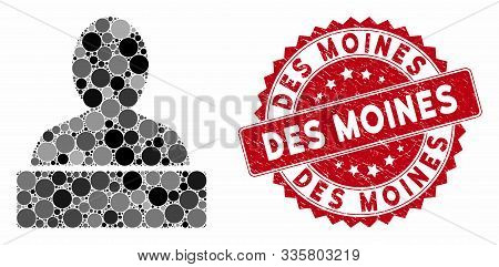 Mosaic Monument And Grunge Stamp Seal With Des Moines Phrase. Mosaic Vector Is Designed With Monumen