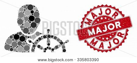 Mosaic Navigation Captain And Corroded Stamp Seal With Major Caption. Mosaic Vector Is Formed With N