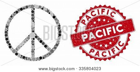 Mosaic Peace Symbol And Rubber Stamp Seal With Pacific Caption. Mosaic Vector Is Created With Peace
