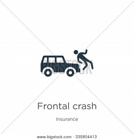 Frontal Crash Icon Vector. Trendy Flat Frontal Crash Icon From Insurance Collection Isolated On Whit