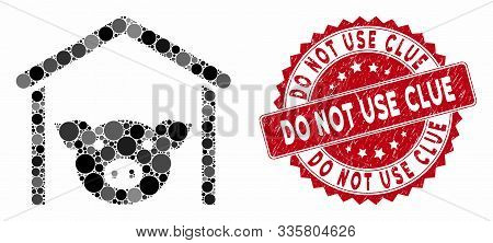 Mosaic Pig Farm And Grunge Stamp Seal With Do Not Use Clue Phrase. Mosaic Vector Is Formed With Pig