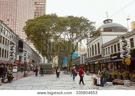 Boston, Massachusetts - October 4th, 2019: People Strolling Through Faneuil Hall Marketplace On A Fa