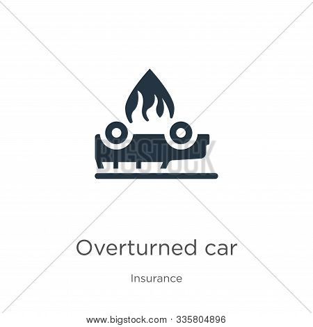 Overturned Car Icon Vector. Trendy Flat Overturned Car Icon From Insurance Collection Isolated On Wh