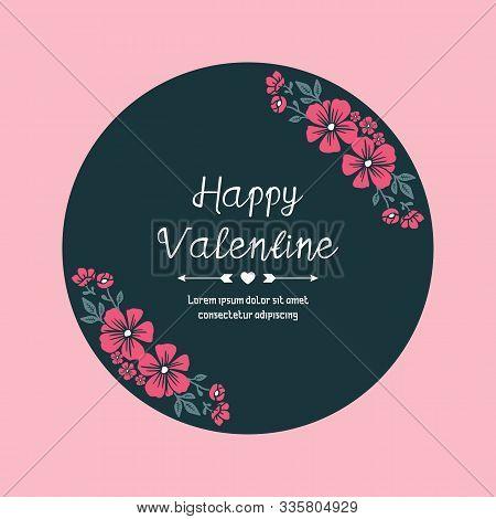 Greeting Card Valentine Day, With Elegant Pink Wreath Frame Design. Vector