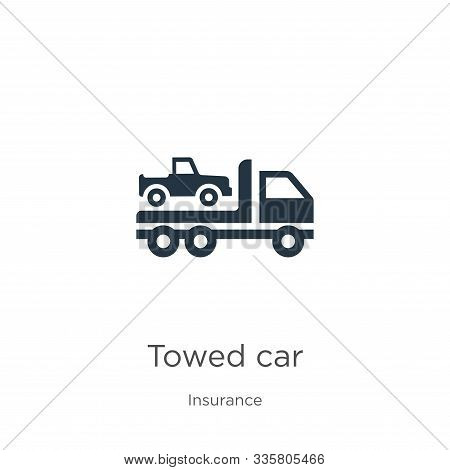 Towed Car Icon Vector. Trendy Flat Towed Car Icon From Insurance Collection Isolated On White Backgr