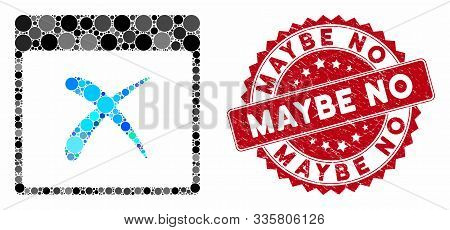 Mosaic Reject Calendar Page And Distressed Stamp Seal With Maybe No Text. Mosaic Vector Is Formed Wi