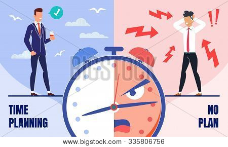 Successful Business Leader Time Management Trendy Flat Vector Concept. Happy And Satisfied Company B