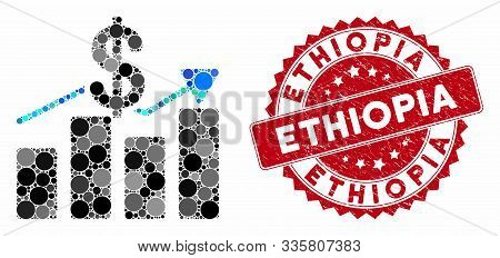 Collage Sales Chart And Grunge Stamp Seal With Ethiopia Text. Mosaic Vector Is Designed With Sales C