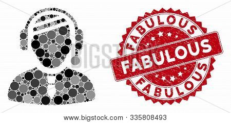 Mosaic Sick Dispatcher And Rubber Stamp Seal With Fabulous Caption. Mosaic Vector Is Formed With Sic